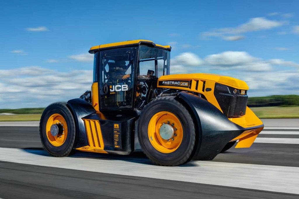 JCB Fastrac Traktor Geschwindigkeitsrekord Elvington Airfield York 100 mph