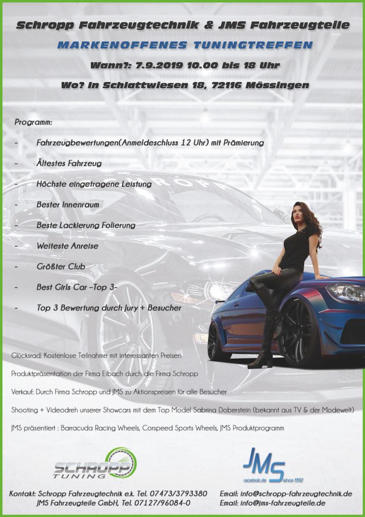 Flyer Event Vorschau Markenoffenes Tuningtreffen September 2019 Mössingen Schropp Fahrzeugtechnik JMS Fahrzeugteile Programm