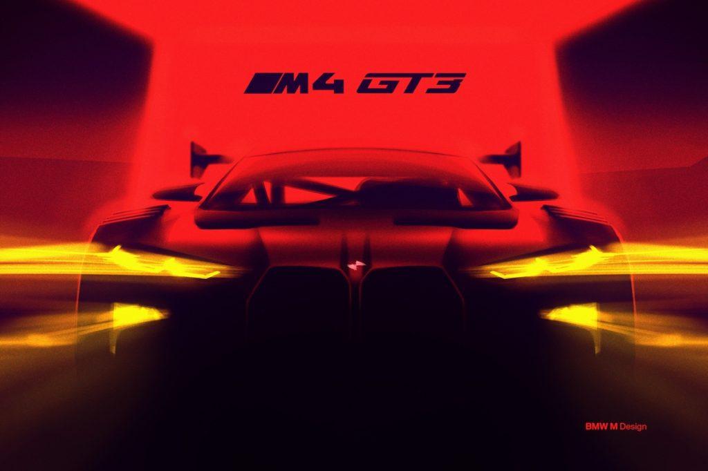 Rennwagen Motorsport Racing Teaser Skizze BMW M4 GT3 2022 Sportwagen Coupe