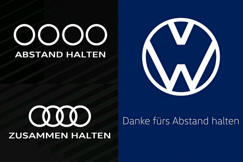 Coronavirus Krise Social Distancing Abstand halten Werbung Audi VW Volkswagen Logos