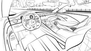 Designentwürfe Styling Bentley Mulliner Bacalar limitiertes Sondermodell Spyder Malvorlage