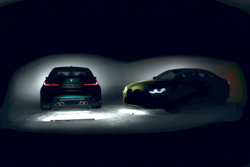 Teaser Neuheit Vorschau Topmodell BMW M3 G80 M4 Coupé G82