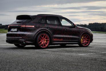 Porsche Cayenne Turbo Nebulus Black Box-Richter Sport-SUV Allradler 4x4 Tuning Leistungssteigerung HGP Turbo Felgen Brixton Folierung EightEleven Design 811