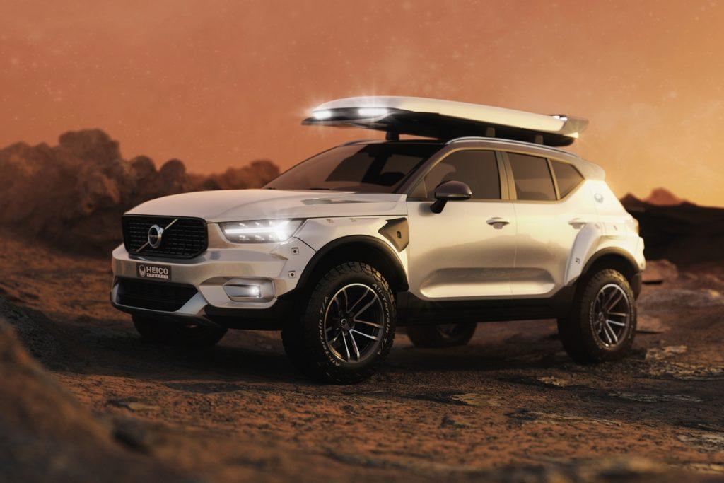 Volvo XC40 Kompakt-SUV Tuning Einzelstück Heico Sportiv Widebody-Kit breitbau Offroad All-Terrain-Reifen Höherlegung Dachbox Unikat