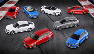 25 Jahre Audi RS Jubiläum Lineup TT RS, RS 4, RS 5, RS 6, RS 7 Sportback, RS Q3