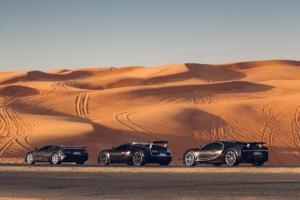Drei Bugatti in Dubai EB110 Veyron Chiron Supersportwagen Heilige Dreifaltigkeit