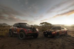 Nissan Juke Rally Tribute Concept SUV Offroader Rallye-Rennwagen Datsun 240Z Weltmeisterschaft Safari Rallye Siegerauto