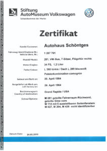 VW Typ 2 T1 Bulli Vollrestauration Verkauf Autohaus Schöntges Automobile Oldtimer Bus Zertifikat